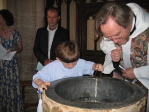 Baptism - looking in to font at Sandford Orcas
