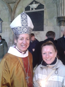 Vicki Lovegrove with Katharine Jefferts Schori follwing Vicki's baptism and confrmation at the Dawn Service at Salisbury cathedral on Easter Day 2015