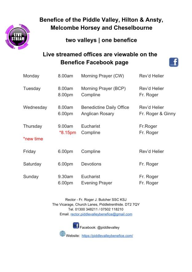 Live stream timetable_1