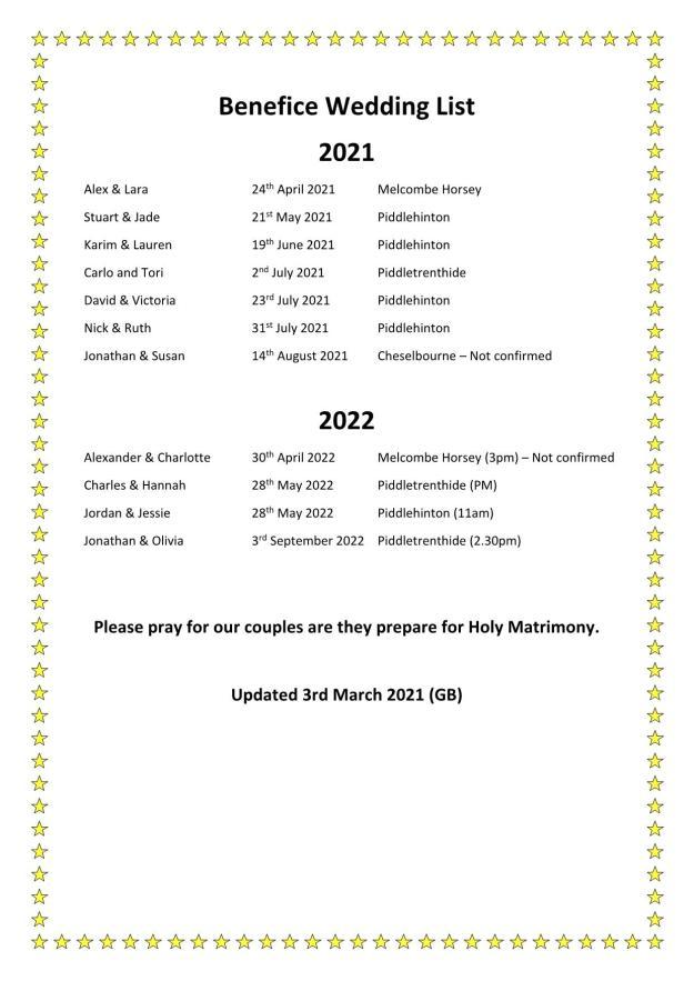 Benefice Wedding List for CW & Website 2021 2022_1